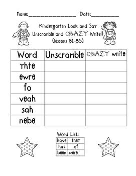 MONDO Kindergarten  Look & Say Words Unscramble and CRAZY Write!!