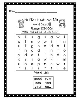 MONDO Kindergarten Look and Say Word Searches