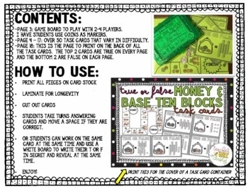 MONEY AND BASE TEN TASK CARDS (ARE THEY EQUAL? TRUE OR FALSE)