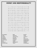 MONEY AND RESPONSIBILITY- WORD SEARCH