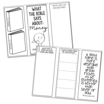 MONEY: Bible Activity for Teens, Brochure Project, Interactive Lesson