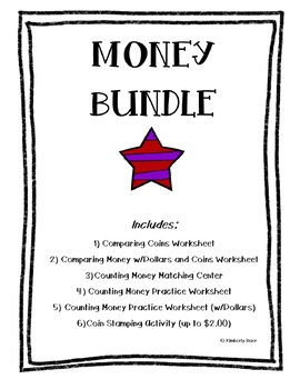 MONEY Bundle!  Counting Coins & Dollars, Comparing Money, Center and Worksheets