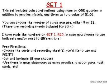 MONEY/COUNTING COINS SCOOT/TASK CARDS!