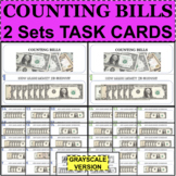 MONEY Counting Bills TASK CARDS 2 Sets Test Review Practice