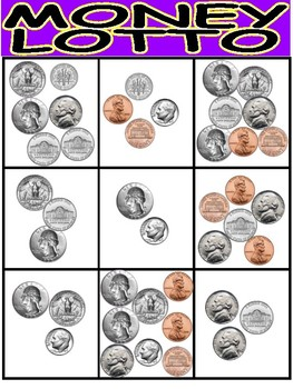 MONEY LOTTO (BINGO)- Level Two ( Counted coins are mixed)