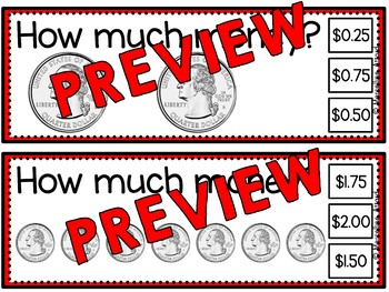 MONEY MATH ACTIVITIES (COUNTING MONEY TASK CARDS) COUNTING QUARTERS CENTER