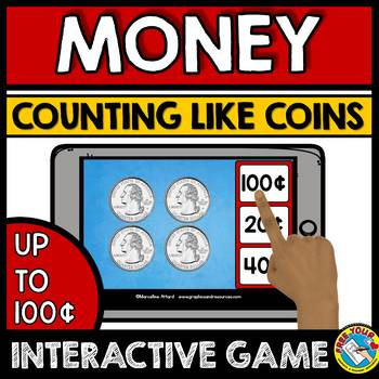 MONEY MATH CENTER BOOM CARDS BUNDLE (COUNTING MONEY GAMES) LIKE AND MIXED COINS