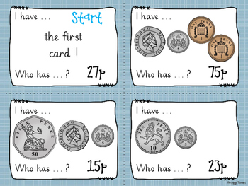 MONEY MATHS Loop Cards / I Have, Who Has? game (UK coins)