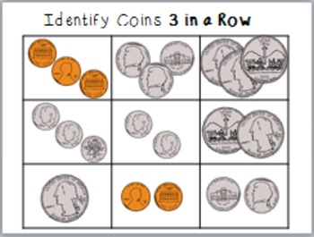 """MONEY MONEY: IDENTIFYING COINS AND COUNTING PENNIES and NICKELS """"Print and Go!"""""""