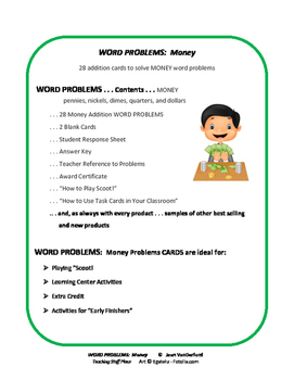 MONEY Word Problems | Task Cards | Play Scoot | Review  Gr 2 MATH Core