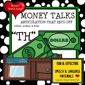 """MONEY WALLET """"CH"""" SPEECH THERAPY WORKSHEETS"""