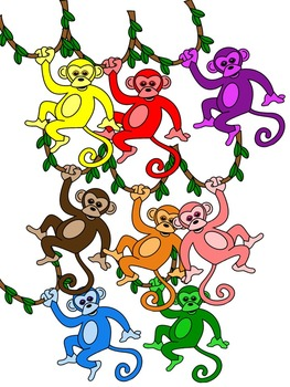 MONKEY CLIP ART * COLOR AND BLACK AND WHITE