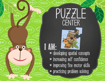 MONKEYS - Classroom Decor: Center Signs, student cards