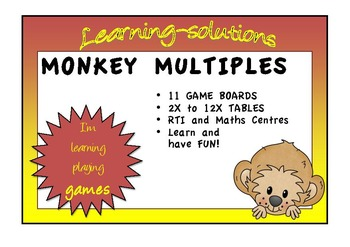 TIMES TABLES - MONKEY MULTIPLES - 11 Board Games to 12 x 12