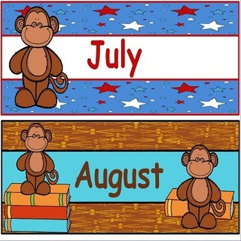 Monkey Classroom Theme Calendar Headings and Months