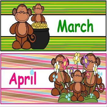 Monkeys Calendar Headers