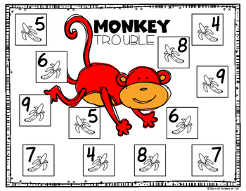 MONKEY TROUBLE {Decomposing Math Game with Number 10} Kindergarten & First Grade