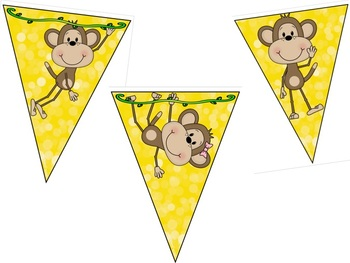 EDITABLE Monkey Themed Bunting/Banner