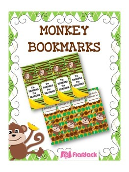 MONKEY Themed Reading Bookmarks