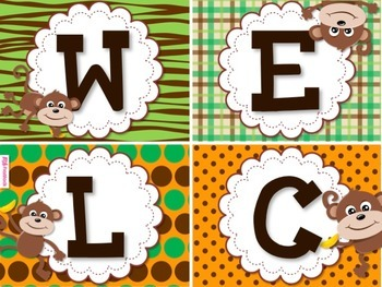 MONKEY Themed WELCOME Squares Sign