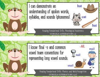 """MONKEYS - 1st Grade Common Core Standards """"I CAN"""" format / posters"""