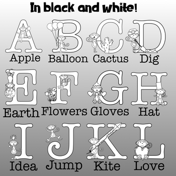 Monkeys ABC Clipart- Great for TpT Sellers and Classroom Decoration!