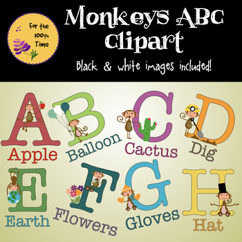 Monkeys ABC Cute Clipart with Black & White Images Included!