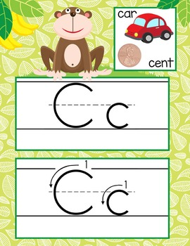 MONKEYS - Alphabet Cards, Handwriting, ABC Flash Cards, ABC print with pictures
