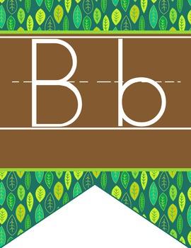 MONKEYS - Alphabet Flag Banner, handwriting, A to Z, ABC print font