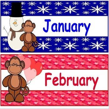 Calendar Illustrated Monkey Theme Set