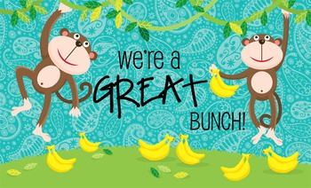 MONKEYS - Classroom Decor: MEDIUM BANNER, We're A Great BUNCH - horizontal