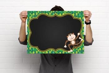 MONKEYS - Classroom Decor: editable chalkboard  POSTERS / Bistro Chalk Markers