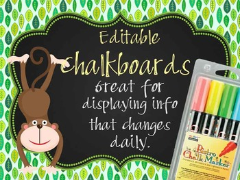 MONKEYS - Classroom Decor: editable chalkboard  POSTERS /
