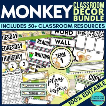 MONKEY THEME Classroom Decor - EDITABLE Clutter-Free Classroom Decor BUNDLE