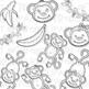 MONKEYS Clipart Plus Digital Papers BUNDLE