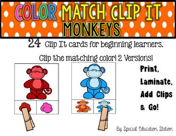 MONKEYS Color Match Clip It {A Beginning Work Task)