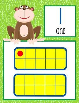 MONKEYS - Number Line Banner, 0 to 20, Illustrated