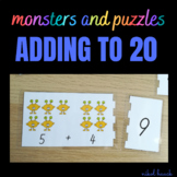 MONSTER ADDING PUZZLES (ADDING ACTIVITY 0-20) math busy bag