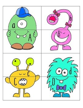 MONSTER ALPHABET (MATCHING CAPITAL AND LOWERCASE LETTERS) literacy busy bag