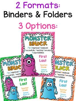 MONSTER Binder Covers **EDITABLE**