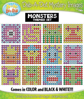 MONSTER Dab-A-Dot Mystery Images Clipart {Zip-A-Dee-Doo-Dah Designs}