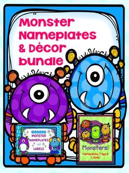 MONSTER {EDITABLE} NAMETAGS & LOCKER TAGS AND DECOR BUNDLE