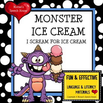 MONSTER ICE CREAM BOOK , POSTER, & LANGUAGE PACKET