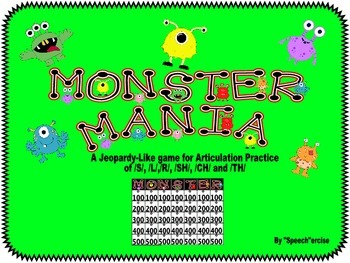 SPEECH THERAPY MONSTER MANIA: S, L, R , SH, CH & TH