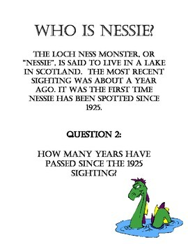 MONSTER WORD PROBLEMS