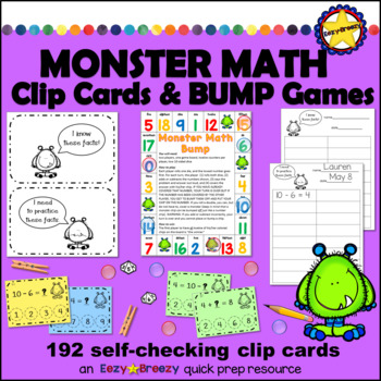 MONSTER MATH ADDITION CARDS