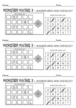 MONSTER MATHS 3 - LOGIC/REASONING PUZZLE USE COMPASS POINTS/DIRECTIONS and CLUES