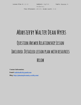 MONSTER: QUESTION ANSWER RELATIONSHIP LESSON