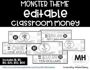MONSTER THEME - Classroom Money - EDITABLE