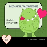 MONSTER Theme VALENTINES ! Cards to print, sign, cut and p